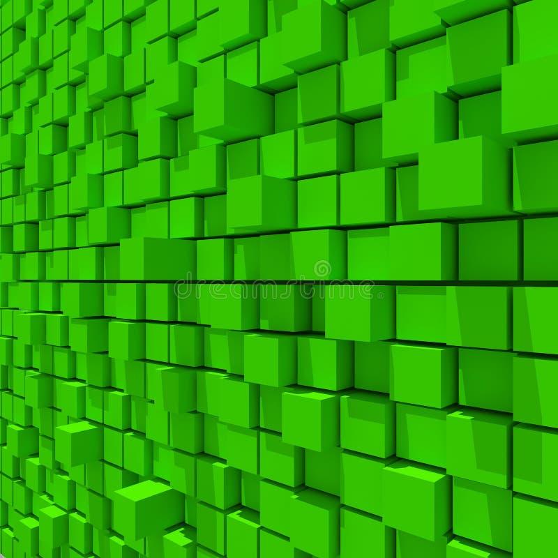 representación 3d del fondo llano al azar cúbico verde stock de ilustración