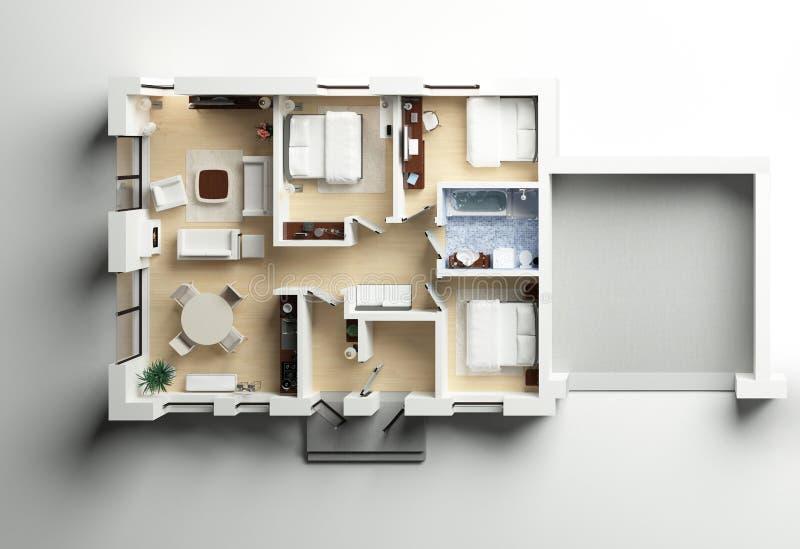 representación 3d del hogar equipado ilustración del vector