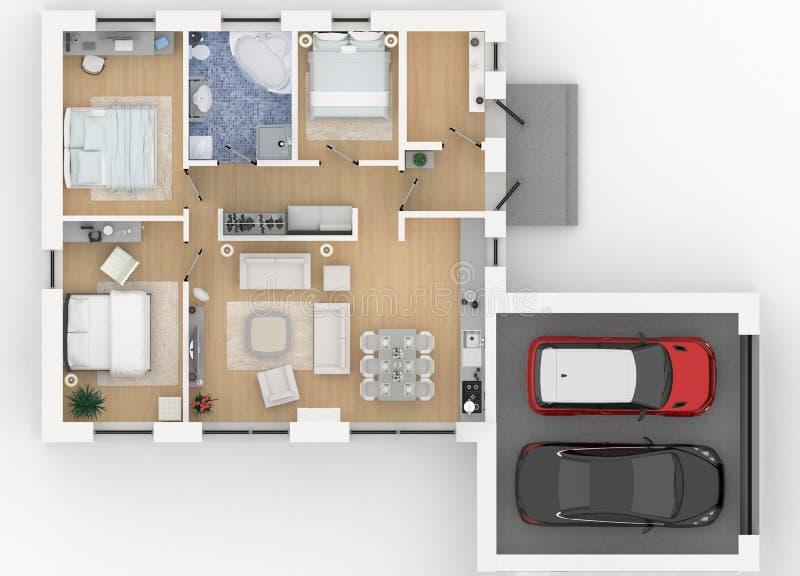 representación 3d del hogar equipado stock de ilustración