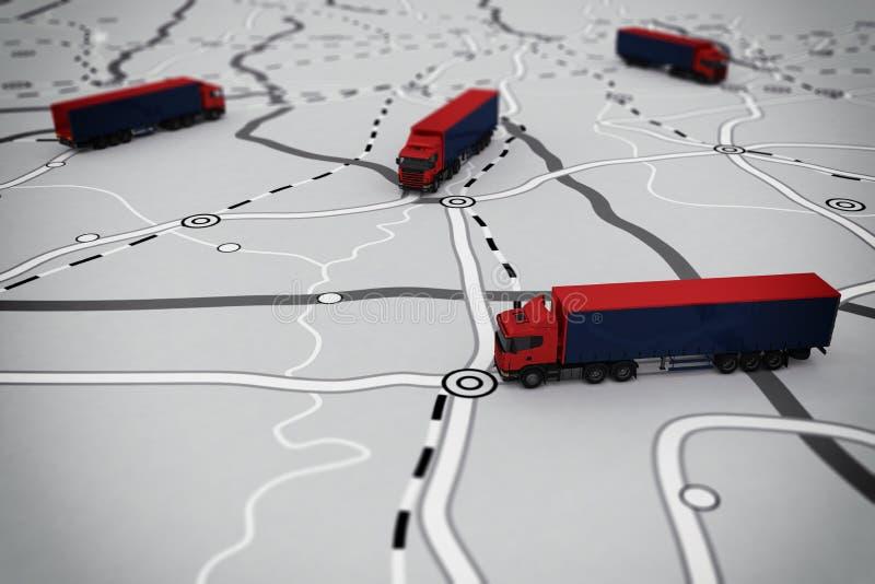 representación 3D del itinerario del transporte libre illustration