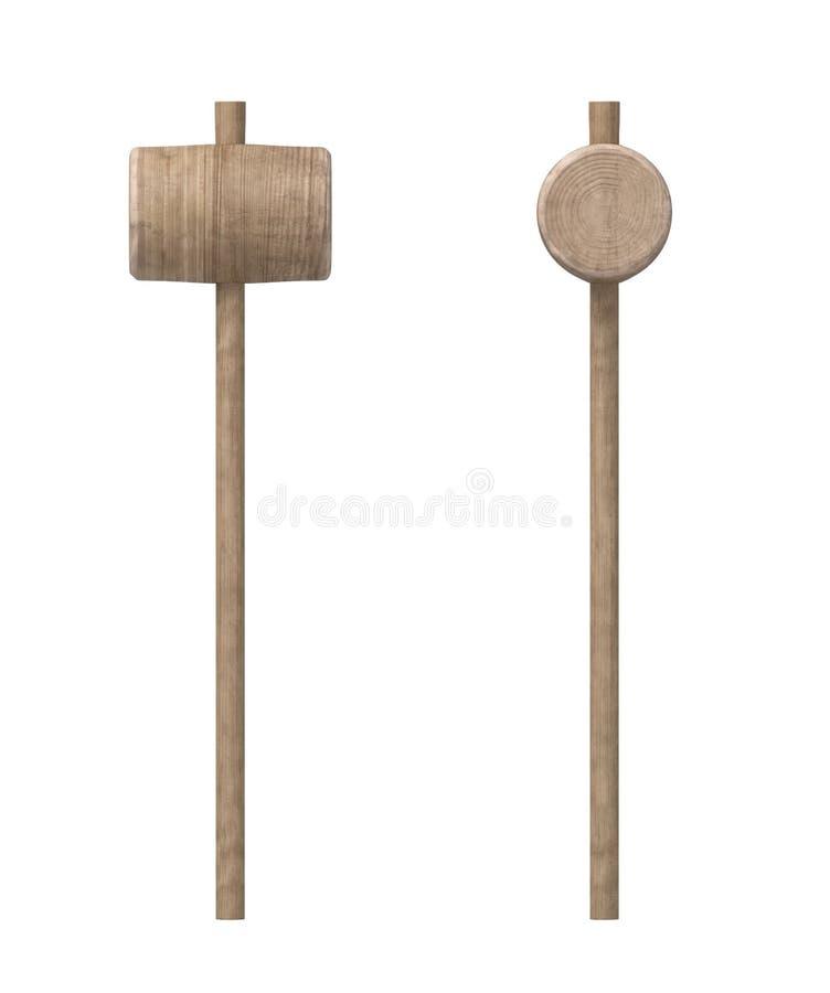 representación 3d del martillo de madera con la manija fina larga y una cabeza redonda grande ilustración del vector