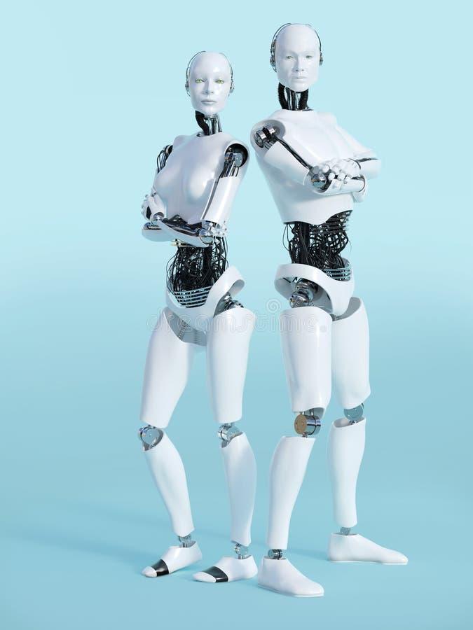 representación 3D del nr masculino y femenino 2 del robot stock de ilustración