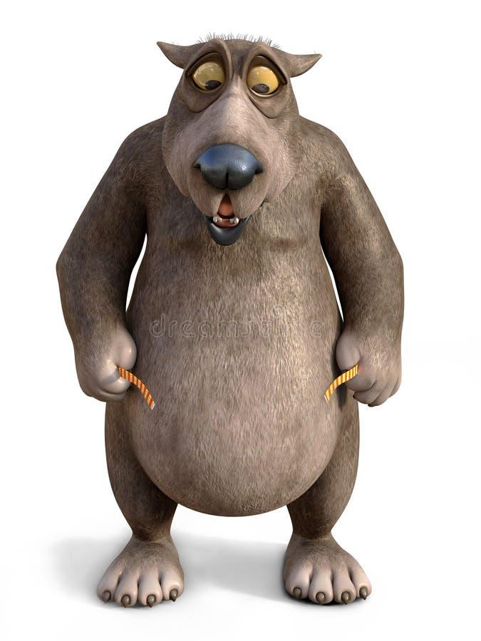 representación 3D del oso chocado de la historieta que mide su cintura ilustración del vector