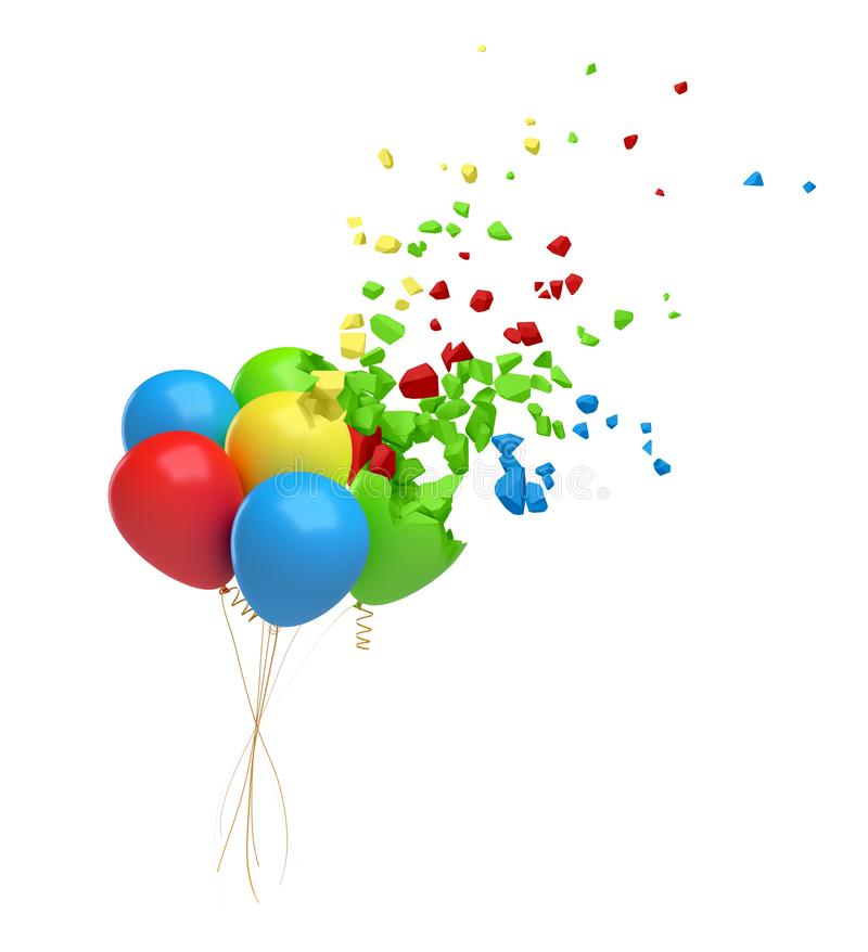 representación 3d del paquete de globos coloridos en el aire que comienza a romperse en pedazos y a desaparecer aislado en blanco stock de ilustración