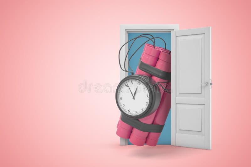 representación 3d del paquete rosado enorme de la dinamita con la bomba de relojería que emerge de puerta abierta en fondo rosado stock de ilustración