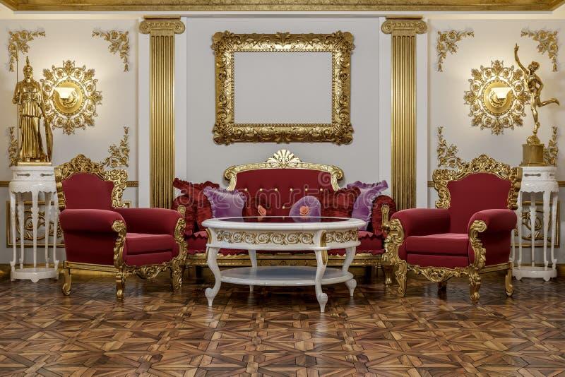 representación 3d del pasillo en renderer clásico de la corona del cine 4D del estilo fotos de archivo libres de regalías