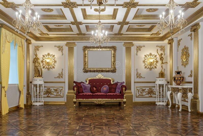 representación 3d del pasillo en renderer clásico de la corona del cine 4D del estilo foto de archivo libre de regalías
