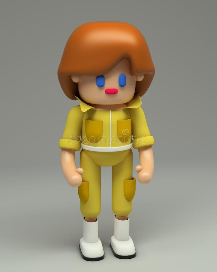 representación 3d del personaje de dibujos animados femenino ilustración del vector