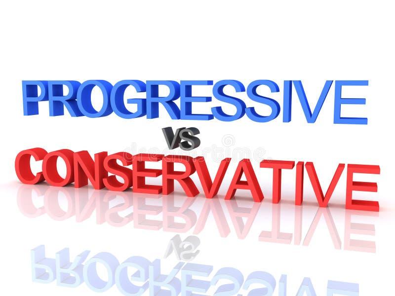 representación 3D del progresista contra el texto conservador ilustración del vector