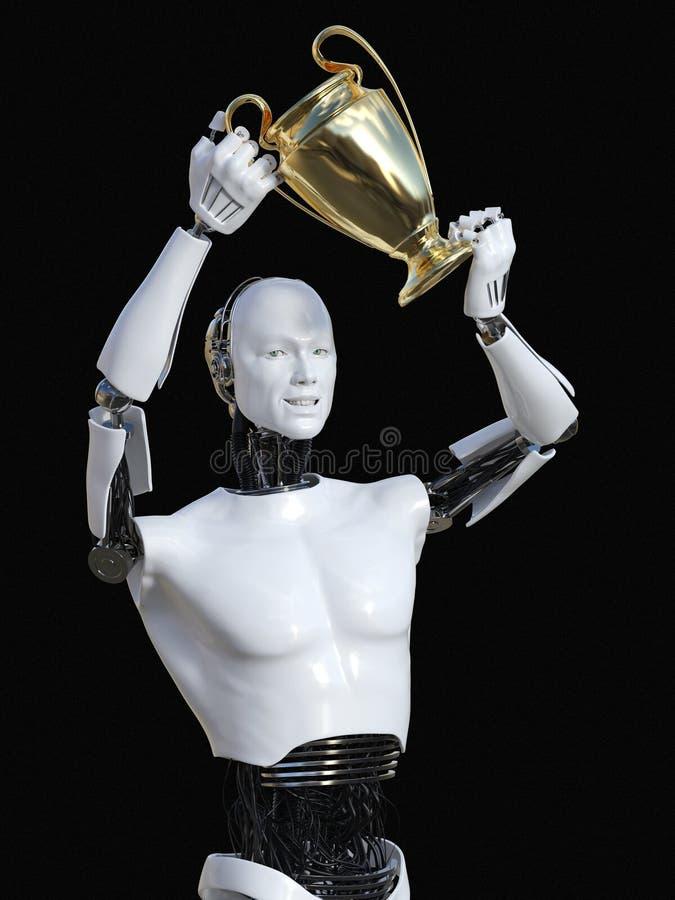 representación 3D del robot masculino que lleva a cabo el premio del trofeo stock de ilustración