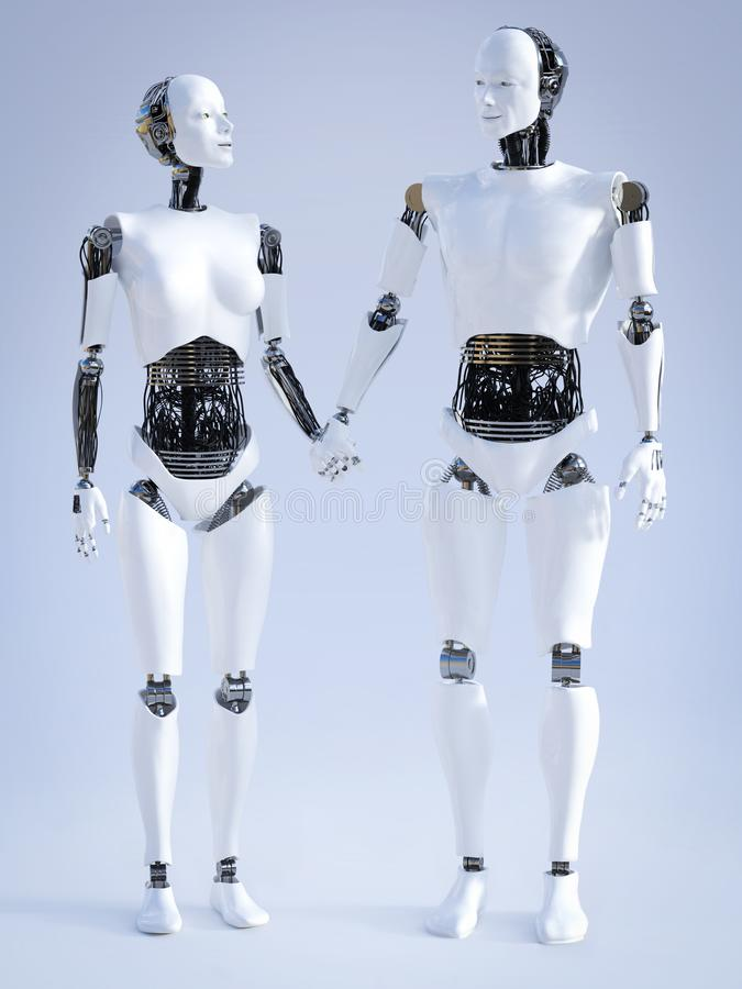 representación 3D del robot masculino y femenino que lleva a cabo las manos stock de ilustración