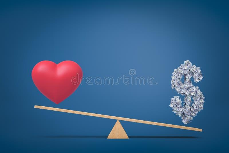 representación 3d del símbolo del amor del corazón y del símbolo del dólar del dinero en la oscilación en fondo azul ilustración del vector