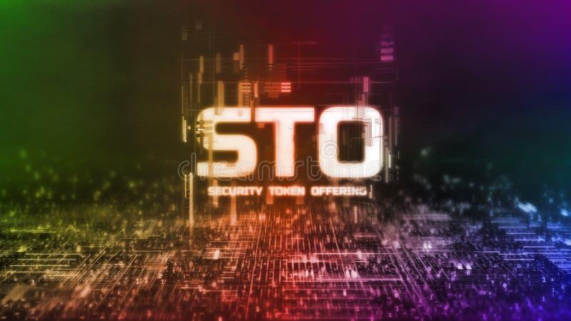 representación 3D del símbolo de la seguridad que brilla intensamente que ofrece el texto de STO en fondo binario abstracto Para  ilustración del vector