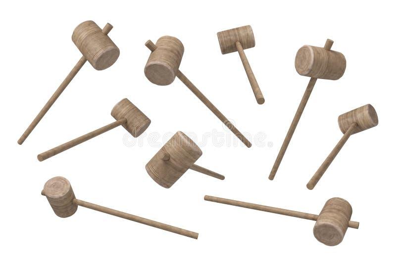 representación 3d del sistema del martillo de madera con la manija fina larga y una cabeza redonda grande stock de ilustración