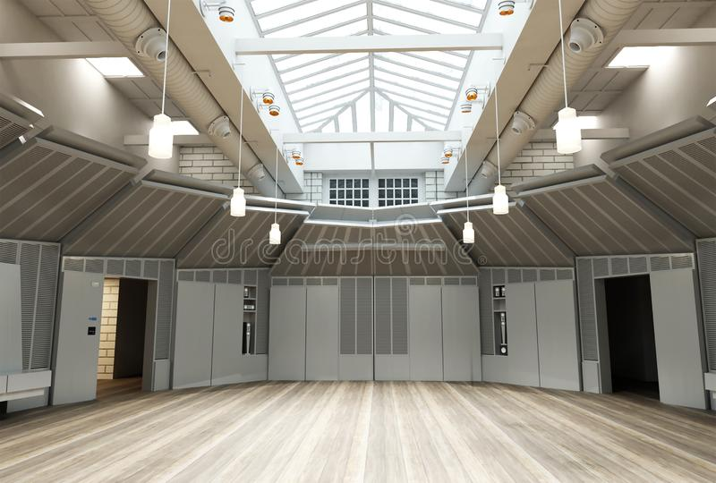 representación 3d del sitio vacío grande industrial del diseño interior del desván libre illustration