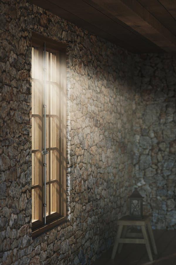 representación 3d del sitio vacío medieval con los rayos ligeros en la ventana ilustración del vector