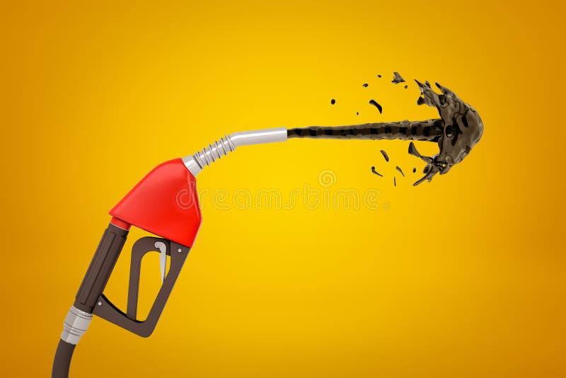 representación 3d del surtidor de gasolina que echa en chorro hacia fuera líquido negro en el fondo ambarino ilustración del vector