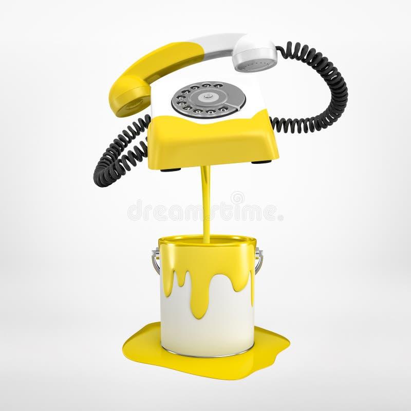 representación 3d del teléfono blanco del cable metálico que se ha sumergido parcialmente en el cubo de pintura amarilla y ahora  imagen de archivo