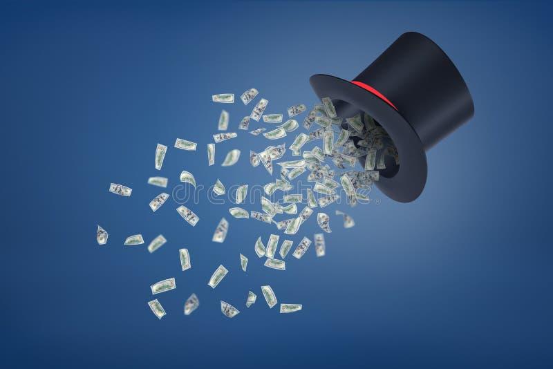 representación 3d del tophat de un mago negro grande con el vuelo verde de muchos billetes de banco del dólar fuera de él fotografía de archivo libre de regalías