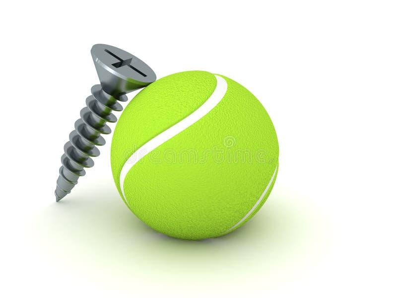 representación 3D del tornillo y del concepto excéntrico de la bola ilustración del vector