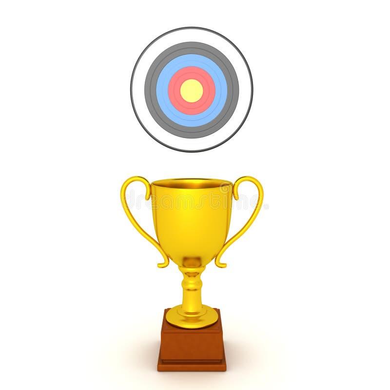 representación 3D del trofeo del oro con la blanco del ojo de toros sobre ella ilustración del vector