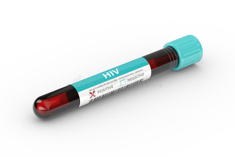 representación 3D del tubo de ensayo con la muestra de sangre del virus del VIH libre illustration
