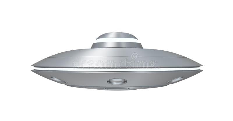representación 3d del UFO del metal plateado aislada en el fondo blanco ilustración del vector