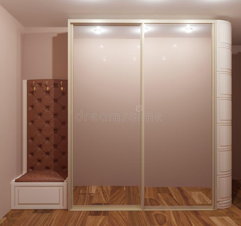 representación 3d del vestíbulo casero con el espejo grande del amd del guardarropa libre illustration