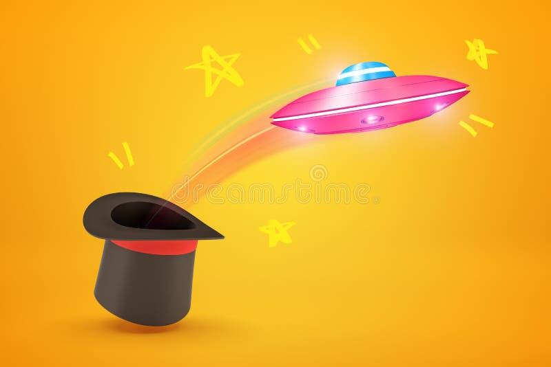 representación 3d del vuelo rosado del UFO del metal fuera del sombrero de copa negro en fondo amarillo libre illustration