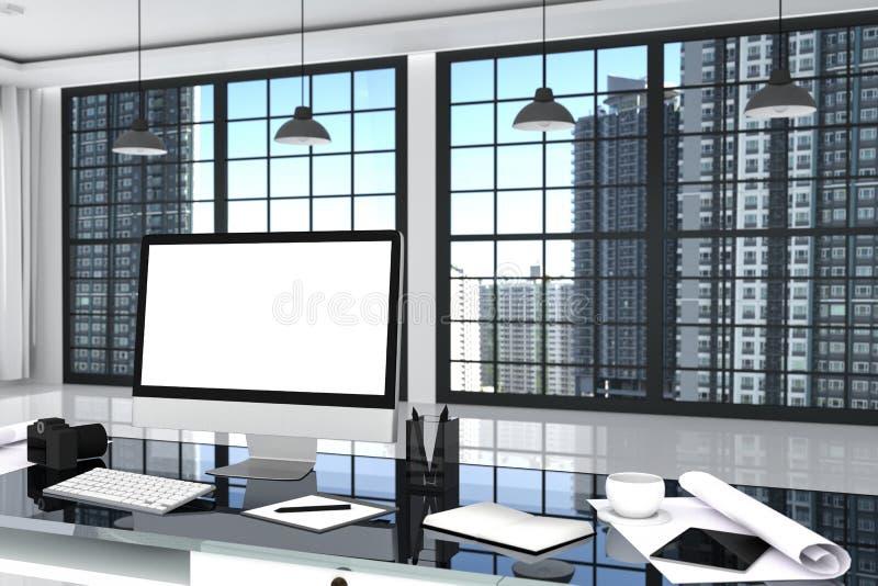 representación 3D: ejemplo cercano para arriba de la mesa creativa de la oficina del diseñador con el ordenador en blanco, el tec libre illustration