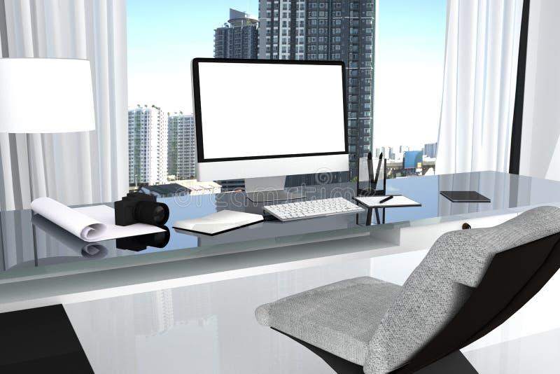 representación 3D: ejemplo cercano para arriba de la mesa creativa de la oficina del diseñador con el ordenador en blanco, teclad libre illustration