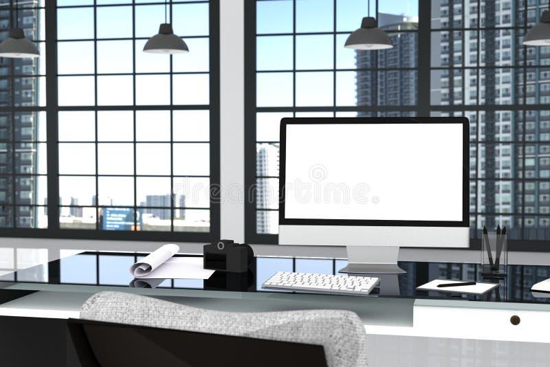 representación 3D: ejemplo cercano para arriba de la mesa creativa de la oficina del diseñador con el ordenador en blanco, teclad stock de ilustración