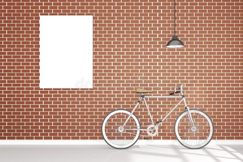 representación 3D: ejemplo de la ejecución retra de la lámpara de la bicicleta del vintage y del metal del vintage en el tejado c ilustración del vector