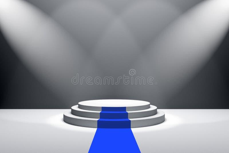 representación 3D: ejemplo de la etapa con la alfombra azul para la ceremonia de premios Podio redondo blanco Primer lugar 3 paso stock de ilustración