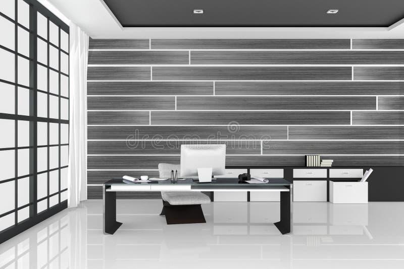 representación 3D: ejemplo de la oficina interior moderna blanca de la mesa creativa del diseñador con el ordenador de la PC, tec libre illustration