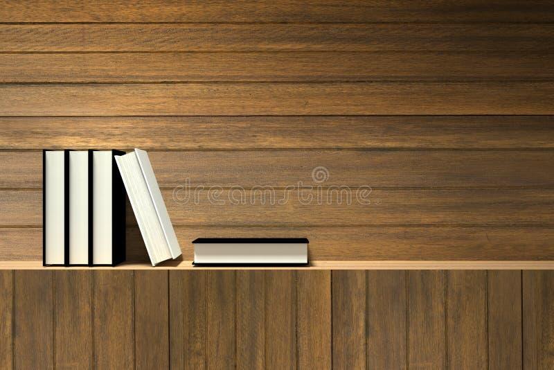 representación 3D: Ejemplo de libros en estante de madera o barra de madera contra la pared de madera stock de ilustración