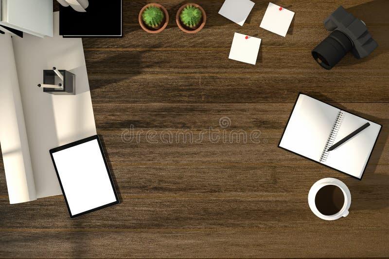 representación 3D: ejemplo del lugar de trabajo creativo moderno de la visión superior tableta con la trayectoria de recortes bla ilustración del vector