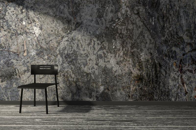 representación 3D: ejemplo, estilo interior, silla negra del desván del minimalismo en un piso de madera contra la pared de piedr ilustración del vector