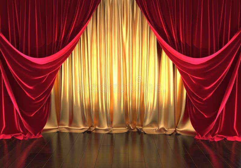 representación 3D, etapa del teatro, cortinas de oro y terciopelo rojo ilustración del vector