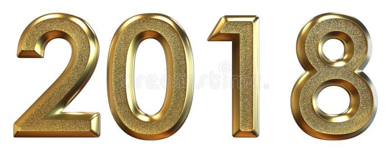 representación 3d Feliz Año Nuevo 2018 Números del oro ilustración del vector