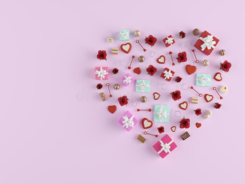 representación 3d forma de un corazón con las porciones de presentes Rose roja imágenes de archivo libres de regalías