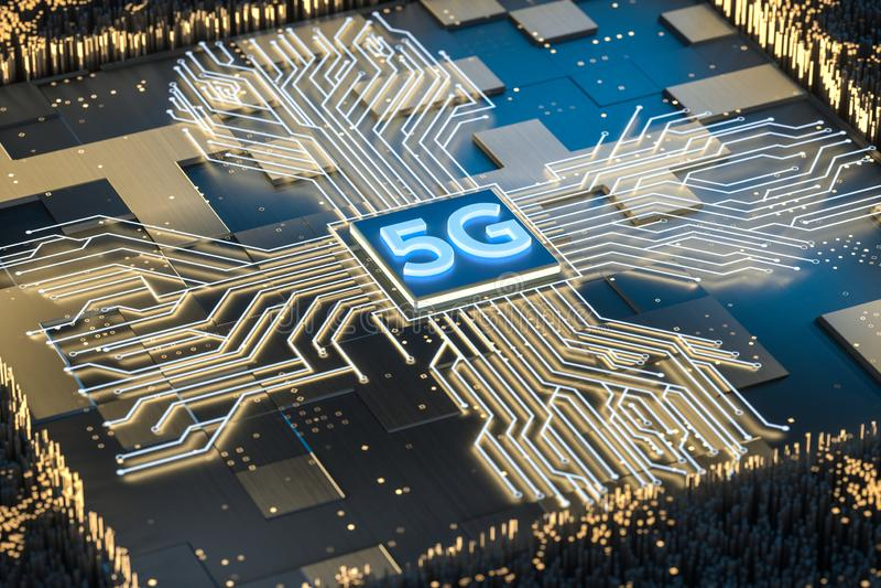representación 3d, fuente 5g y fondo del circuito stock de ilustración