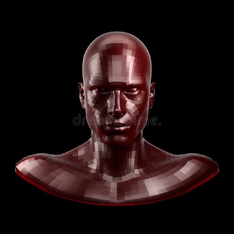 representación 3d La cara roja tallada del robot con rojo observa parecer delantera en cámara stock de ilustración