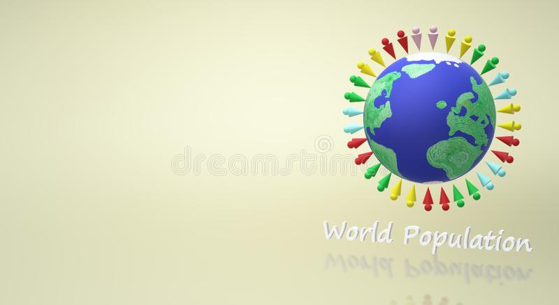 representación 3d para el contenido del día de la población mundial libre illustration