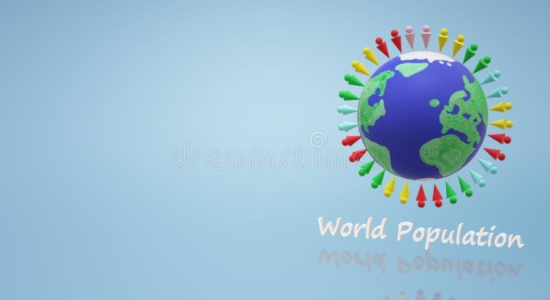 representación 3d para el contenido del día de la población mundial ilustración del vector