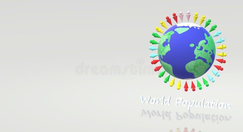 representación 3d para el contenido del día de la población mundial stock de ilustración