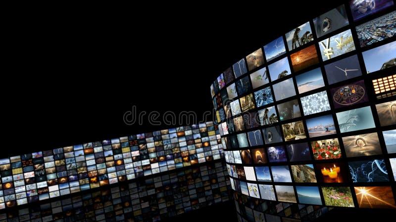representación 3d Pared del vídeo del entretenimiento del cine stock de ilustración