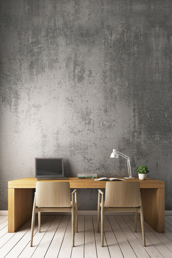 representación 3D: Pared desnuda del cemento con el escritorio de trabajo moderno ilustración del vector