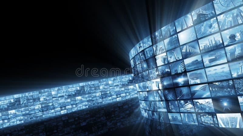 representación 3d Pared video brillante atractiva stock de ilustración