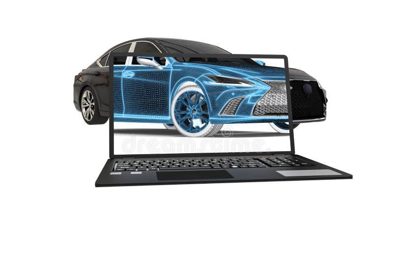 representación 3D que representa una radiografía de un coche con un ordenador portátil libre illustration